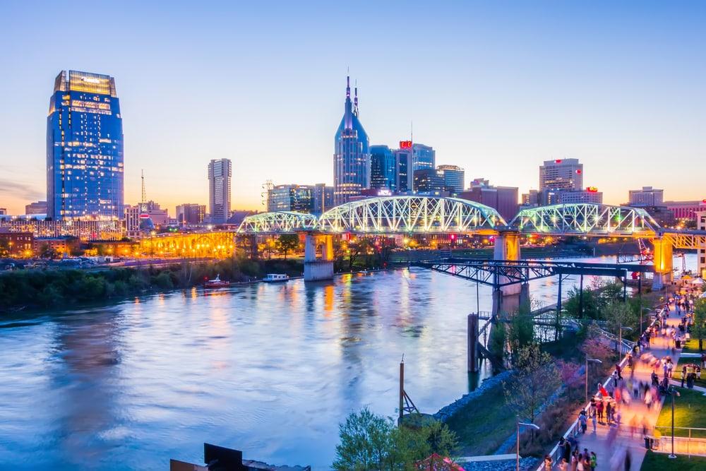 Monroe Tennessee downtown skyline at Shelby Street Bridge